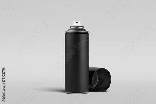 Photo  Blank black can of spray paint on isolated on white background
