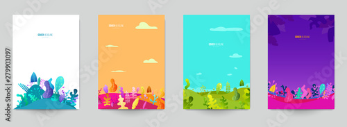 Minimal template design for branding, advertising with cartoon plants, leaves or trees in flat style. Set background for covers, invitations, posters, banners, flyers, placards. Vector illustration.