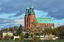 Gothic Cathedral Church And Lake In Autumn In Gniezno ...