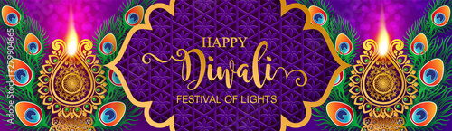 Fotografiet  Diwali, Deepavali or Dipavali the festival of lights india with gold diya patterned and crystals on paper color Background