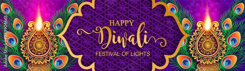 Fotografie, Obraz  Diwali, Deepavali or Dipavali the festival of lights india with gold diya patterned and crystals on paper color Background