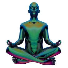 Zen-like Character Portrait Iron Human Mental Guru. Man Lotus Pose Figure Stylized Green Polished. Peaceful Nirvana Yoga Contemplation Symbol. 3d Rendering