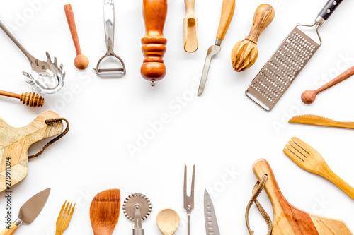 Cuadros en Lienzo Chef work space with cookware frame on white background top view mock up