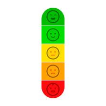 Customer Satisfaction Meter With Different Emotions - Happy Meter Vector Illustration