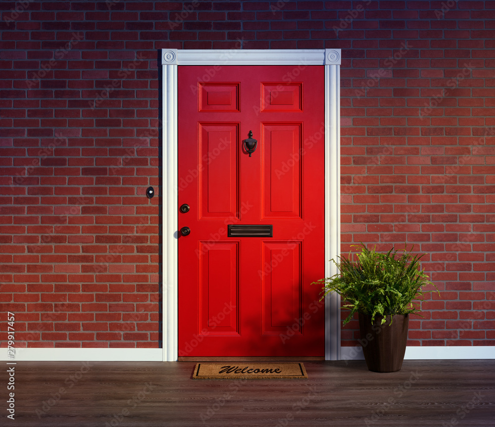 Fototapety, obrazy: Inviting red front door with welcome mat and potted fern plant