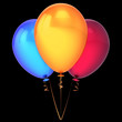canvas print picture Balloons baloons ballons three 3 colorful bunch blue yellow red
