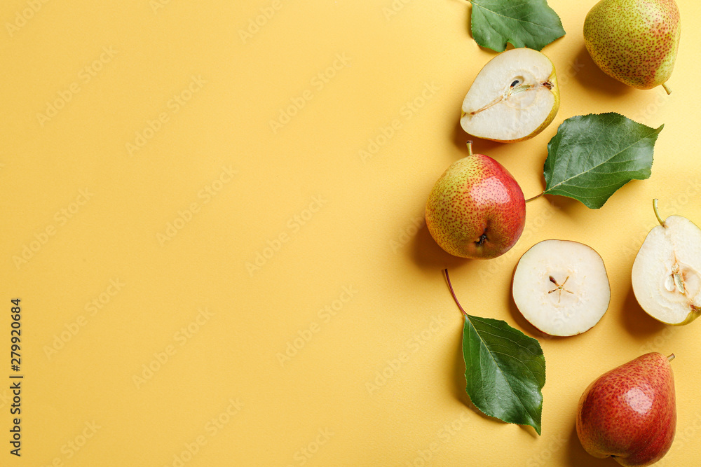 Fototapety, obrazy: Ripe juicy pears on yellow background, flat lay. Space for text