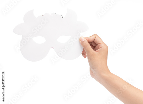Fotografia, Obraz  hand holding cow carnival mask isolated on white background