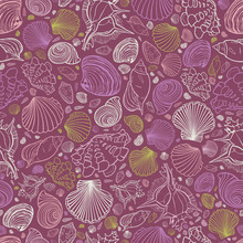 Vector Purple Repeat Pattern With Variety Of Seashells. Perfect For Greetings, Invitations, Wrapping Paper, Textile, Wedding And Web Design.