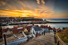 High Angle View Of Whitby From 199 Steps, North Yorkshire, UK