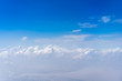 Group of the clouds in the sky from above angle. Beautiful blue sky and clouds from airplane background.
