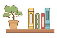 Isolated Shelf With Books Design Vector Illustrator