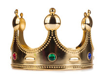 Gold Crown With Jewel Isolated...