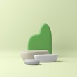 3d render abstract pastel color mock up scene. beige podium and green background for product.