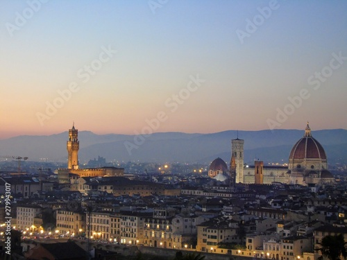 Aluminium Prints Florence panoramic view of florence at sunset