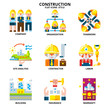 Construction icon set flat style