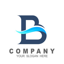 Blue Wave Logo Design, Letter B With Wave Water Shape, Line And Wave Icon