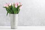 Fototapeta Tulipany - Pink tulips in silver bucket.