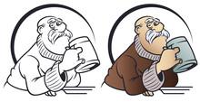 Funny Little Men. Elderly Man With Beer Mug.