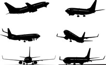 Six Black And White Airplane Silhouettes