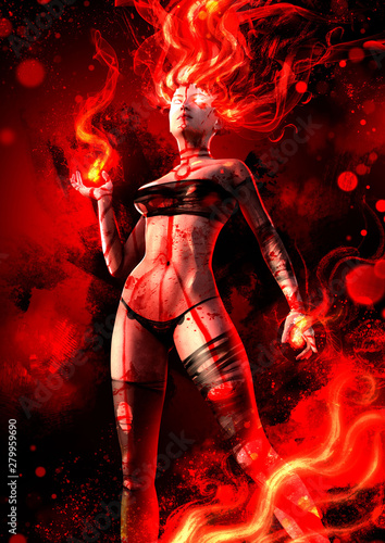 Valokuva The girl with the flaming hair and bloody ritual tattoos on the body, behind the bloody background