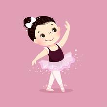 Vector Illustration Of Little Ballerina Girl Dancing On Pink Background. Kid In Ballet Class.