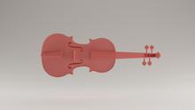 Pink Violin Horizontal  Front View 3d Illustration 3d Render
