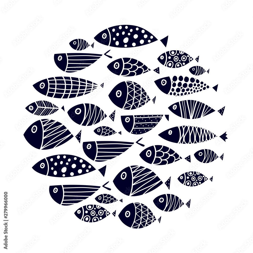 Fototapeta Cute fish card. Around motif with fish. Black illustration.