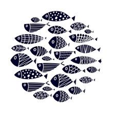 Cute Fish Card. Around Motif With Fish. Black Illustration.
