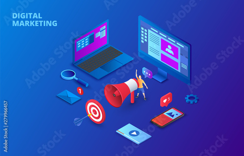 Digital marketing design concept with computer, hand speaker and smartphone Wallpaper Mural