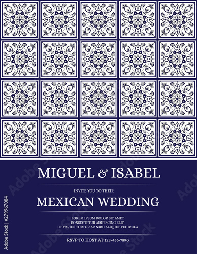 Fototapeta Traditional Mexican Wedding Invite Card Template Vector Vintage Floral Tile Pattern With White And Navy Blue Sicily Background For Save