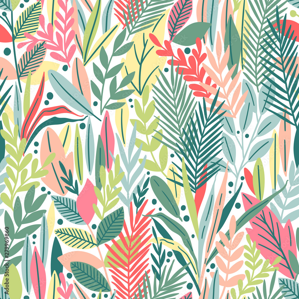 Fototapeta Seamless pattern with tropical leaves