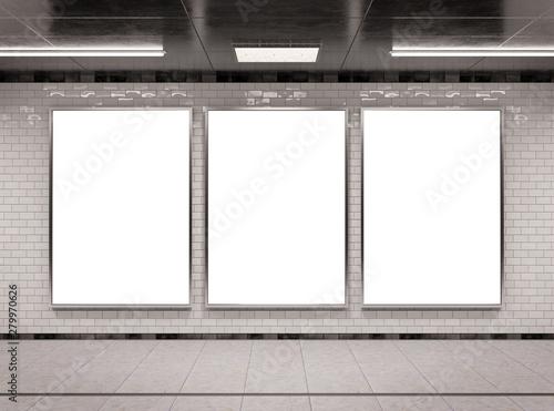 Obraz Vertical triple underground billboard frame Mockup 3D rendering - fototapety do salonu