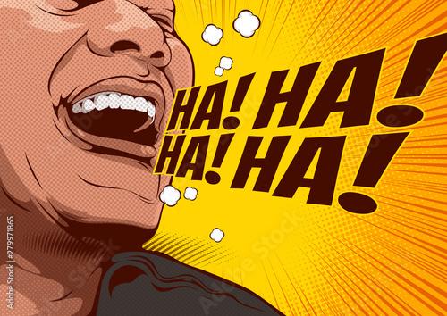 Fotografija picture of happy laughing man, cartoon comic background, speech bubbles, doodle art, vector illustration