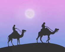Merchants And Camels Walking T...