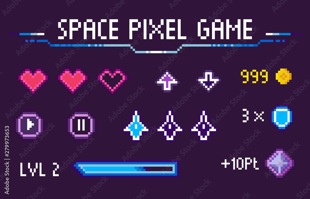 Fototapeta Space pixel game vector, isolated set of hearts symbolizing life and health, icons of navigation, pause and play, level and experience, gaming points, pixelated cosmic object for mobile app games