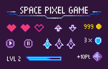 Space Pixel Game Vector, Isola...