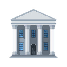 Vector Flat Public Building Icon. Administrative City Building Isolated On White Background. Illustration Of Government Architecture House Design, Exterior City Hall