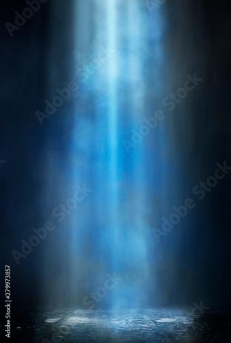 Stampa su Tela  Empty street scene background with abstract spotlights light