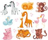 Fototapeta Fototapety na ścianę do pokoju dziecięcego - Collection of pairs of animals. Mom and baby. Vector illustration on white background.