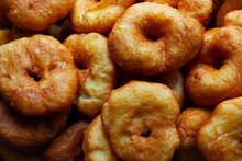 Golden Sweet Donuts Fried In Sunflower Oil,harmful Street Food Fast Cooking