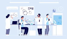 Scientists In Lab. People In White Coat, Chemical Researchers With Laboratory Equipment. Drug Development Cartoon Vector Concept. Illustration Of Scientist In Laboratory, Science Experiment In Lab