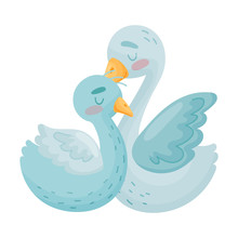 Two Swans. Vector Illustration On White Background.