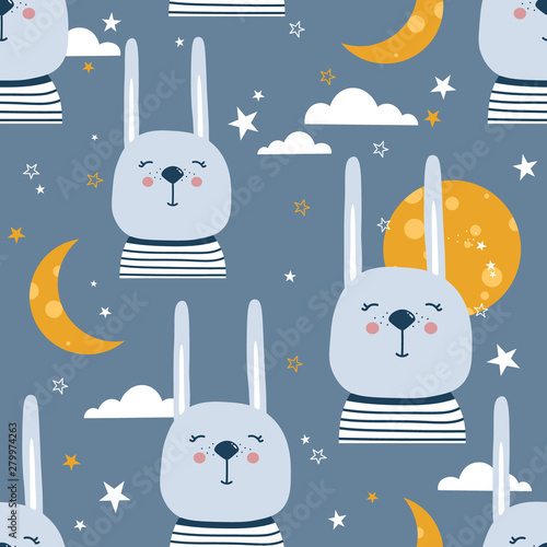 Rabbits, hand drawn backdrop. Colorful seamless pattern with animals, moon, stars. Decorative cute wallpaper, good for printing. Overlapping background vector. Design illustration