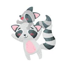 Big And Small Raccoon. Vector ...