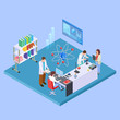 Scientific research laboratory. Isometric chemistry equpment and sciensists, pharmaceutical lab concept. Illustration of pharmaceutical experiment, laboratory isometry with scientists