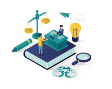 Justice And Law Isometric Illustration , Law Firm Isometric Illustration,  Online Law Judgement Isometric Illustration For Website Landing Page,banner,infographic,presentation Illustration Vector