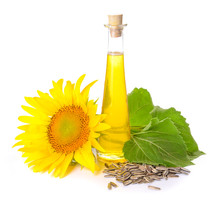 Composition With Sunflower Oil On White Background