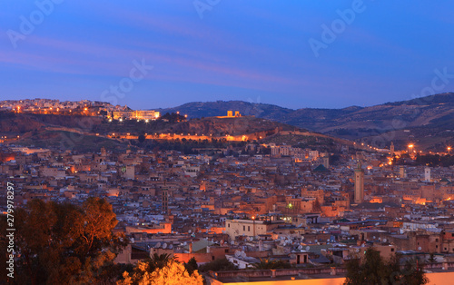 Fotomural View of the medina (old city) of Fez by late evening, Morocco