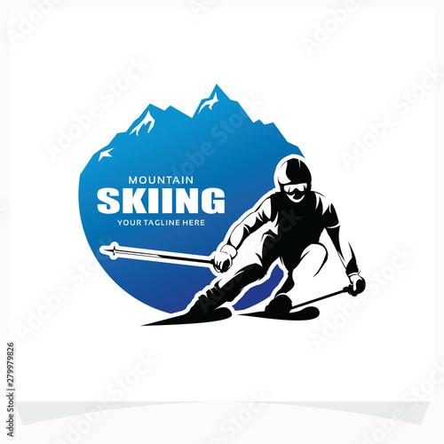 Fotomural Mountain Skiing Logo Design Template